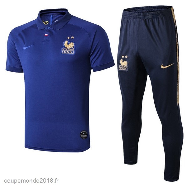 Pas Chers Ensemble Complet Polo France 100th Bleu Or